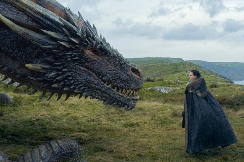 Kit Harington and the dragon in Game of Thrones